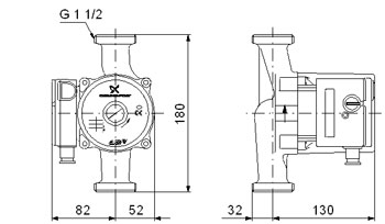 Схема размеры Грандфос UPS 25-80