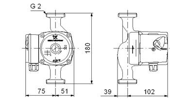 Схема размеры Грандфос UPS 32-40