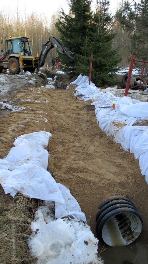 засыпка трубы песком