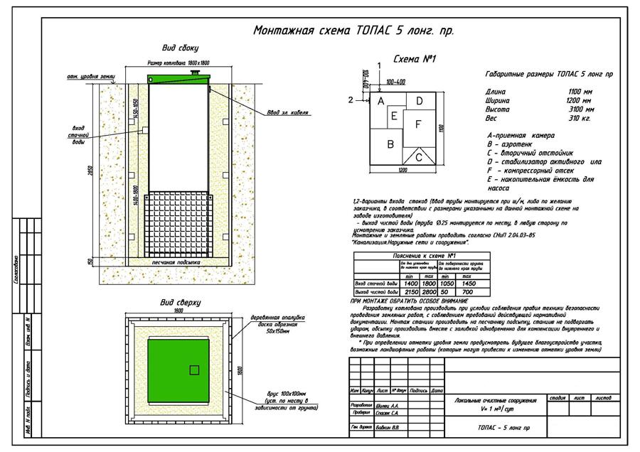 Монтажная схема септика Топас 5 long Пр