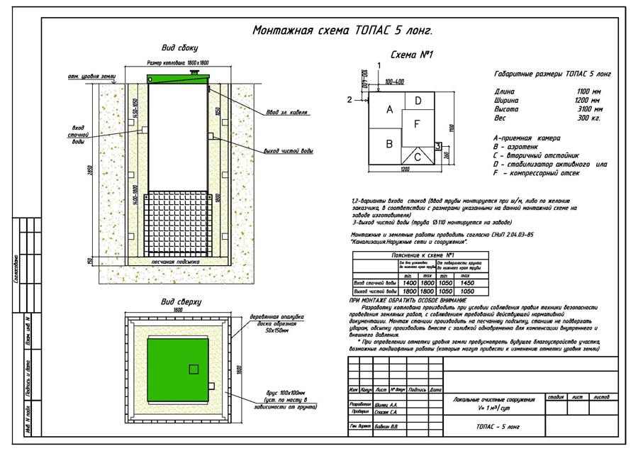 Монтажная схема септика Топас 5 long