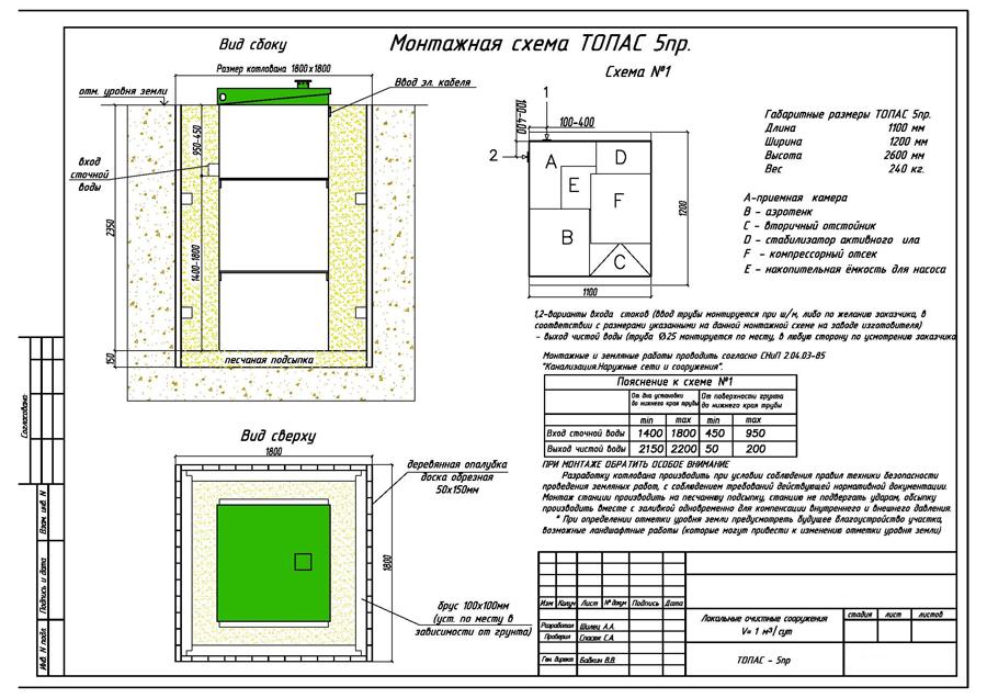 Монтажная схема септика Топас 5 Пр